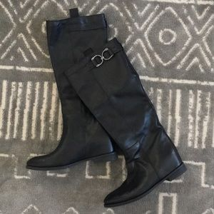 Hidden Wedge Knee High Boots